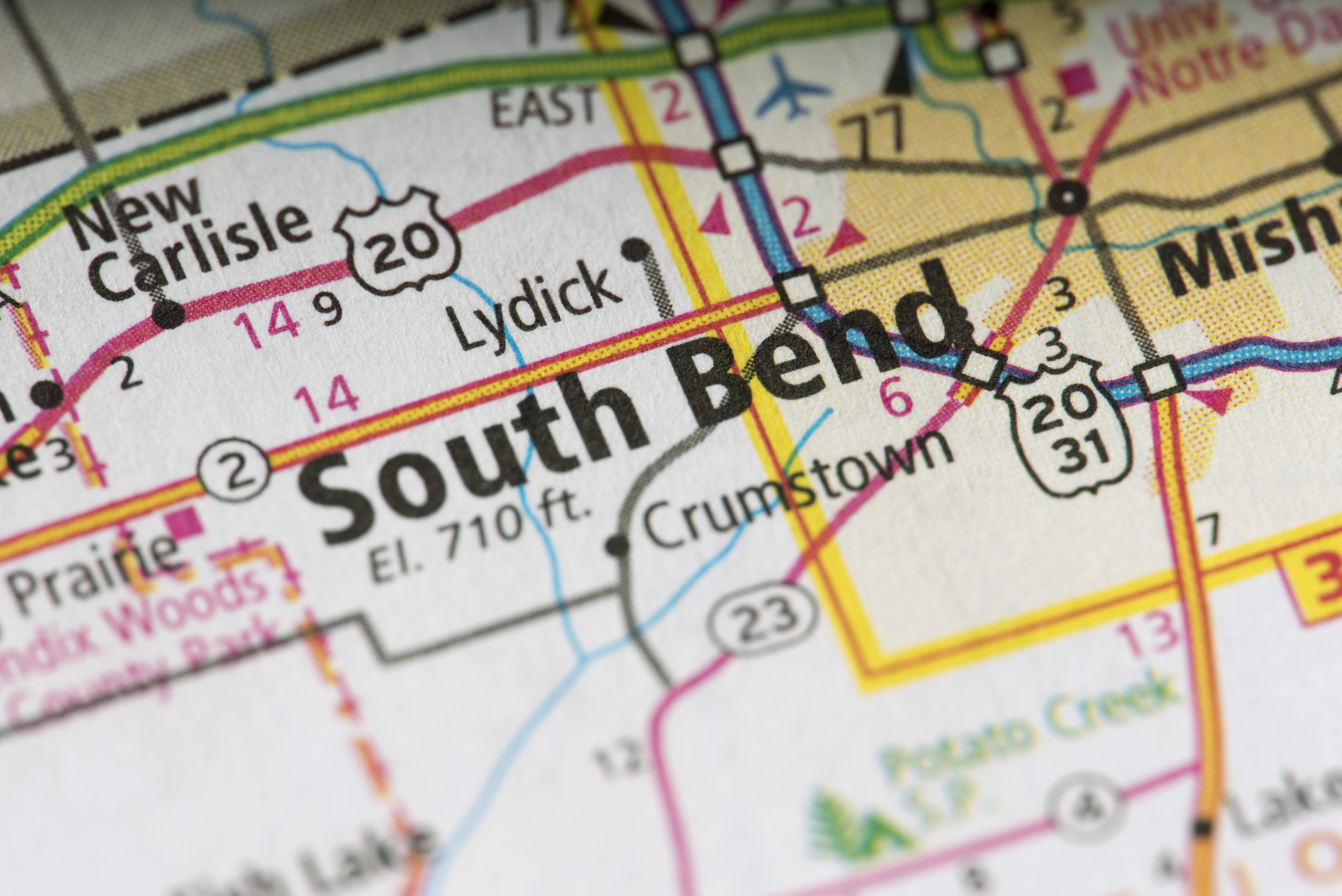 Closeup Of South Bend Indiana On A Map Of The United States - Us-map-close-up